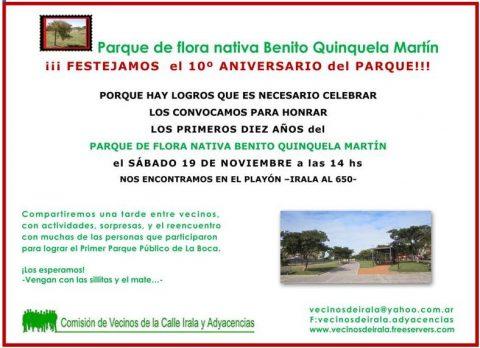 Festejamos el 10º aniversario del Parque de Flora Nativa Benito Quinquela Martín