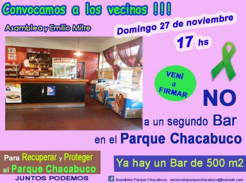 No a un segundo bar en el Parque Chacabuco