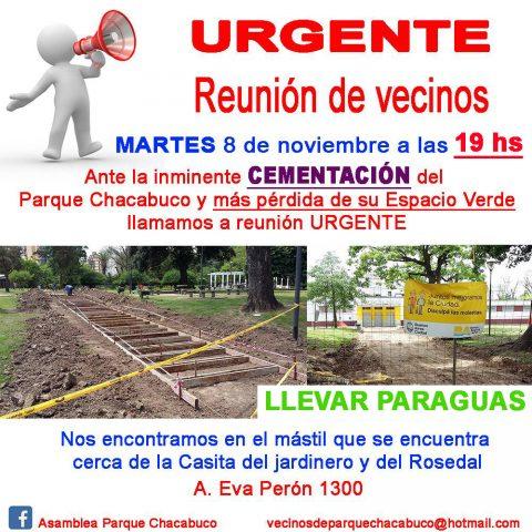 Parque Chacabuco – HOY – URGENTE Reunión de VECINOS!!!!!!!!!!!!!!!!!!!!!!