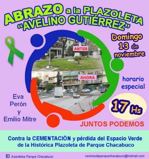 Abrazo a la CEMENTADA plazoleta Avelino Gutiérrez adyacente a Parque Chacabuco