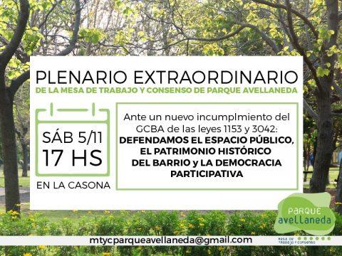 Plenario Extraordinario de la Mesa de Trabajo y Consenso de Parque Avellaneda