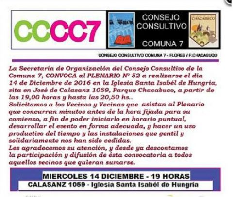 Consejo Consultivo Comuna7 – Flores – Parque Chacabuco – Plenario Nº 52