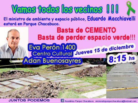 El ministro de Ambiente y Espacio Público estará en Parque Chacabuco