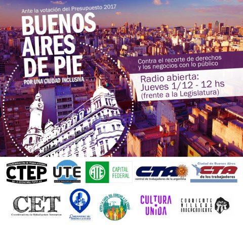 URGENTE: HOY 1 DE DICIEMBRE – Declaración sobre el Código Urbanístico y afines, en la puerta de la Legislatura
