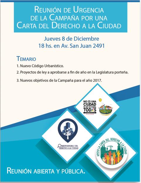 Campaña por una Carta del Derecho a la Ciudad – Reunión de Urgencia