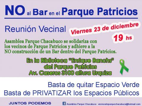 Reunión Vecinal – NO al Bar en el Parque Patricios