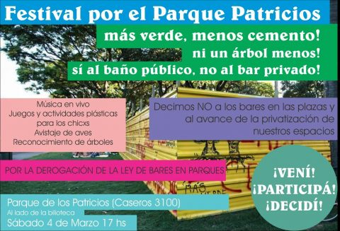FESTIVAL EN PARQUE PATRICIOS – PRESENTACIÓN PROYECTO DE LEY: DEROGACIÓN DE LA LEY DE BARES EN PARQUES