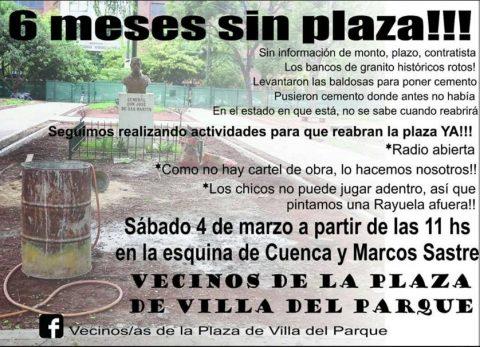 Movilización por la reapertura de la Plaza de Villa del Parque