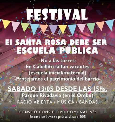 Festival – El Santa Rosa debe ser escuela pública