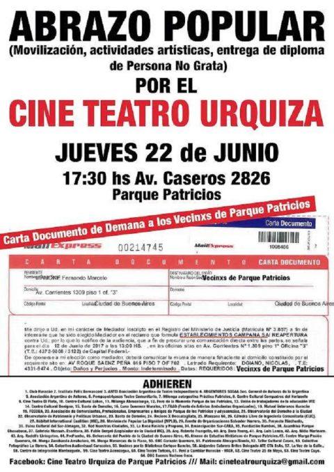 Abrazo Popular y  actividades artísticas por el Cine Teatro Urquiza