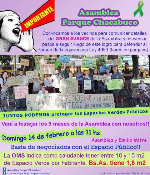 Mensaje de Agradecimiento de la Asamblea Parque Chacabuco
