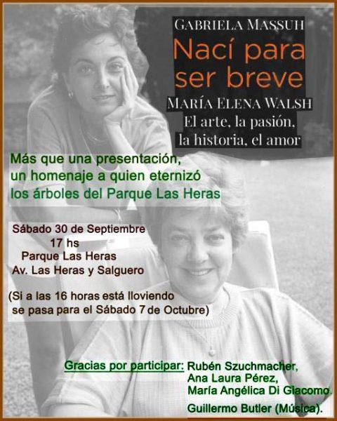Homenaje a María Elena Walsh, que eternizó los árboles del Parque Las Heras
