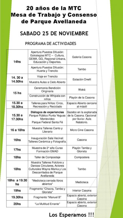 Programa de Actividades MTC