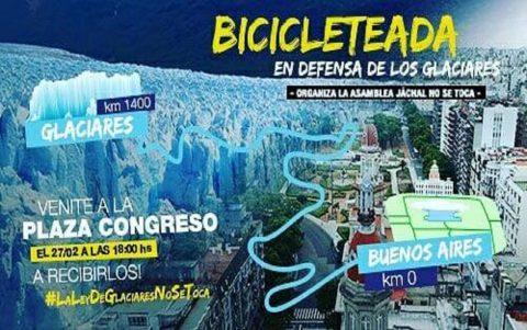 Llega a Buenos Aires bicicleteada en defensa de los glaciares