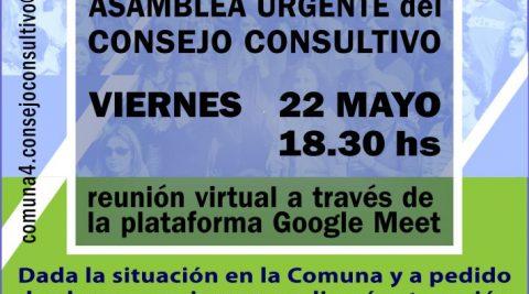 Asamblea Urgente del Consejo Consultivo Comuna 4 – Reunión virtual a través de Google Meet