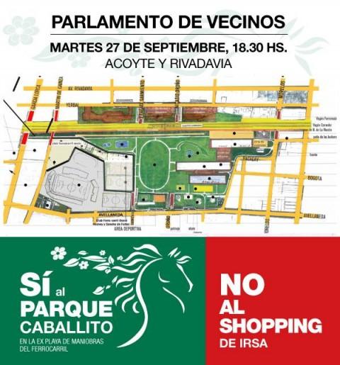 Este Martes 27/9 a las 19hs en Acoyte y Rivadavia, # SI AL PARQUE, NO AL SHOPPING